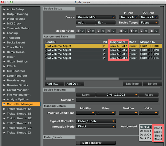 mappatura deck stems controller manager