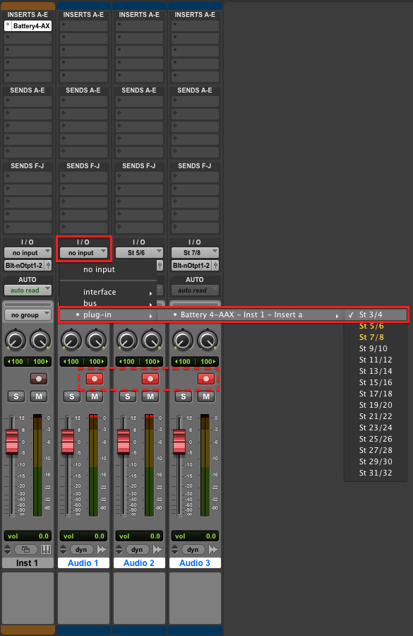 How can I Route BATTERY 4 Cells to Individual Outputs in Pro Tools ...