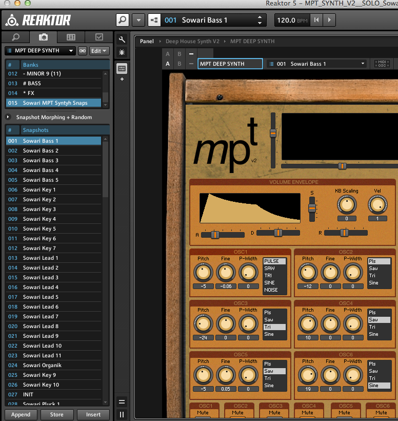 Snapshots for mpt synth v2 entry reaktor user library for Classic house synths