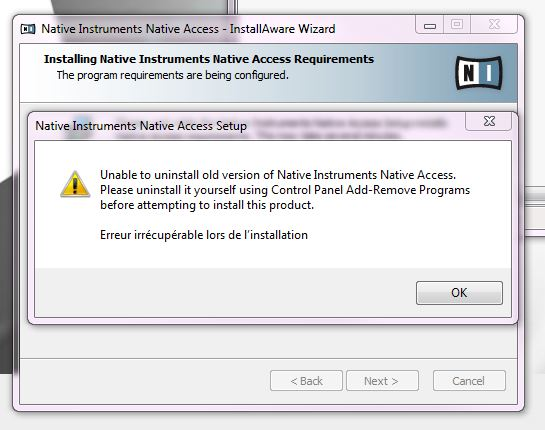 Unable to install Native Access - Error messages | NI Community Forum