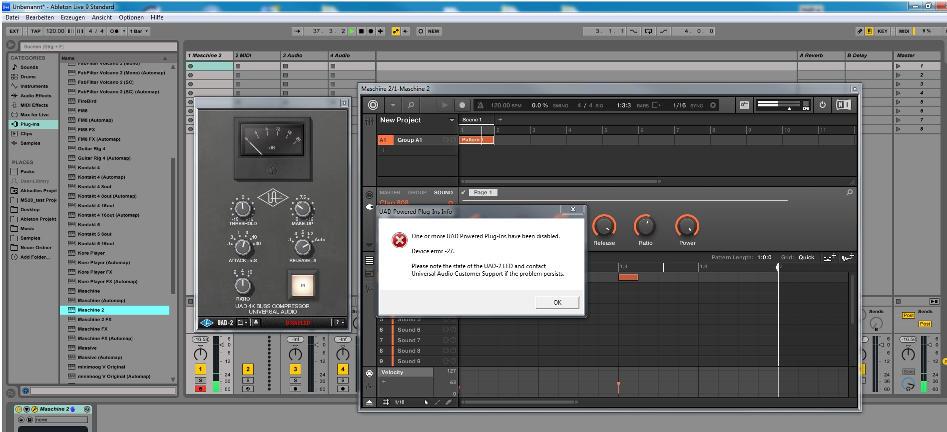 UAD-2 plugins crash when using them in Maschine 2 0 and