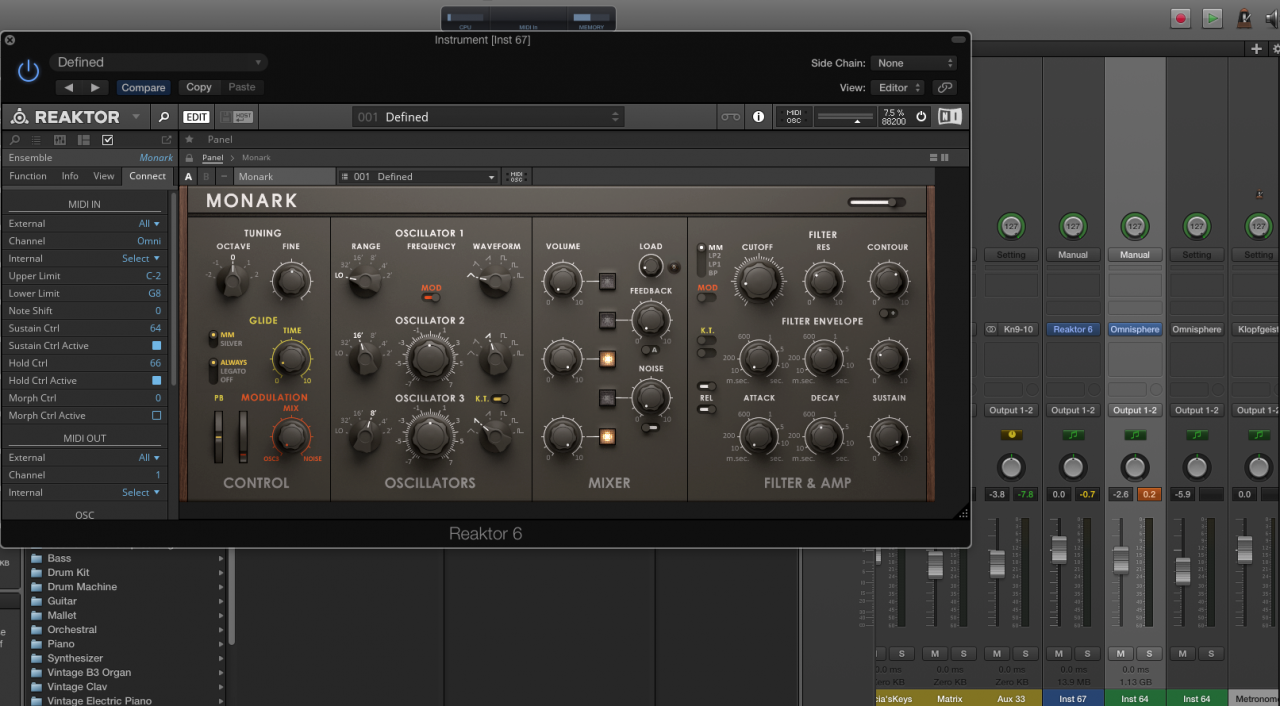 Mainstage 3 with Reaktor 6 in Channel Strips Guide Help | NI